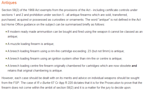 Section 58 Exemption for 1968 Firearms Act