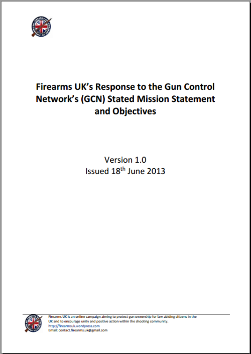 Front cover for Firearms UK Response to the GCN