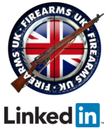 Firearms UK logo above Linkedin logo