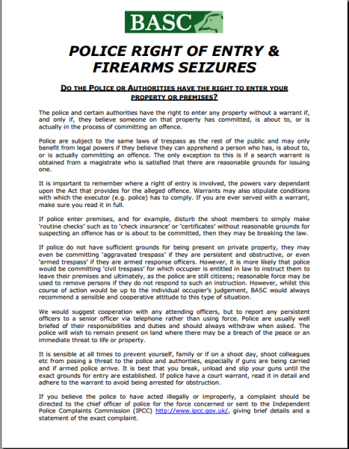 BASC guidance on police rights regarding entry and firearms seizures