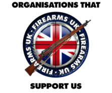 "Firearms UK logo and ""ORGANIZATIONS THAT SUPPORT US"" text"
